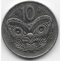 10 центов. 1989 г. Новая Зеландия. Маска Маори. 14-2-291