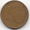 """1 евроцент. 2002 г. Германия. """"A"""". 5-1-470"""