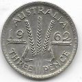 3 пенса. 1962 г. Австралия. Серебро. 9-1-1340