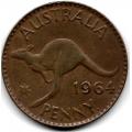 1 пенни. 1964 г. Австралия. Кенгуру. 16-2-606