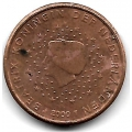 1 евроцент. 2000 г. Нидерланды. 16-3-610