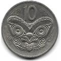 10 центов. 1980 г. Новая Зеландия. Маска Маори. 16-3-630