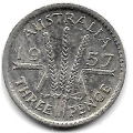 3 пенса. 1957 г. Австралия. Серебро. 9-1-1374