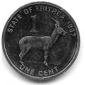 1 цент. 1997 г. Эритрея. Антилопа. 12-3-83