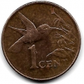 1 цент. 2005 г. Тринидад и Тобаго. Колибри. 10-3-736