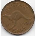 1 пенни. 1948 г. Австралия. Кенгуру. 11-4-407