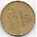 1 крона. 1994 г. Словакия. Скульптура Мадонны. 4-5-276