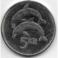 5 крон. 2007 г. Исландия. Дельфины. 19-5-221