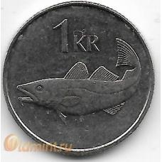 1 крона. 1989 г. Исландия. Треска. 19-5-222
