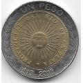 1 песо. 2013 г. Аргентина. 200 лет первой национальной монете. 12-1-347