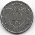 10 геллеров. 1908 г. Австро-Венгрия. 12-1-352