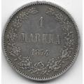 1 марка. 1874 г. Русская Финляндия. Серебро. 9-4-677
