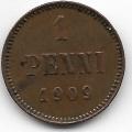 1 пенни. 1909 г. Русская Финляндия. 6-1-767
