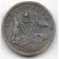3 пенса. 1910 г. Австралия. Эдуард VII. Серебро. 9-1-1510