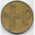 10 крон. 1993 г. Словакия. Бронзовый крест. 3-9-81