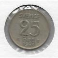 25 эре. 1953 г. Швеция. Серебро. 9-5-7