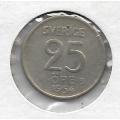 25 эре. 1954 г. Швеция. Серебро. 9-5-8