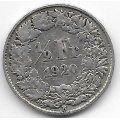 1/2 франка. 1920 г. Швейцария. Серебро. 9-3-306