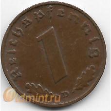 "1 рейхспфенниг. 1938 г. ""D"". Германия. 18-1-105"