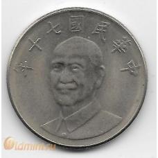 10 юаней. 1981 г. Тайвань. Чан Кайши. 18-1-125