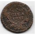 Полушка. 1731 г. Перечекан с копейки Петра II 1728-1729 гг. 18-4-233