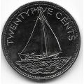 25 центов. 2000 г. Багамские острова. Парусник. 14-1-860