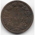 """1 крейцер. 1859 г. Австрия. """"А"""". 1-3-58"""