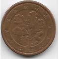 """1 евроцент. 2002 г. Германия. """"J"""". 8-5-477"""