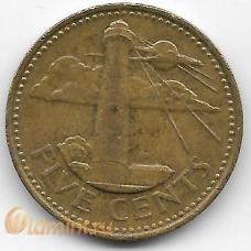 5 центов. 2001 г. Барбадос. Маяк. 5-4-530