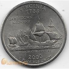 1/4 доллара (квотер). 2000 г. США. P. Вирджиния (Виргиния). 5-4-544