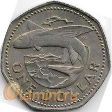 1 доллар. 1973 г. Барбадос. Летучая рыба. 18-5-391