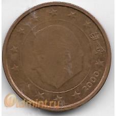2 евроцента. 2000 г. Бельгия. Король Альберт II. 12-4-466