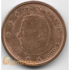 2 евроцента. 2000 г. Бельгия. Король Альберт II. 12-4-467