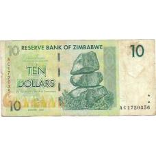 Зимбабве. 10 долларов. 2007 г. Б-2161