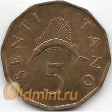 5 сенти. 1984 г. Танзания. Рыба-парусник. 12-4-477