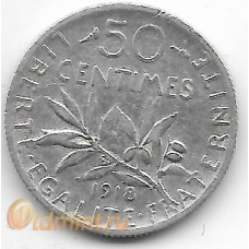 50 сантимов. 1918 г. Франция. Серебро. 9-3-343