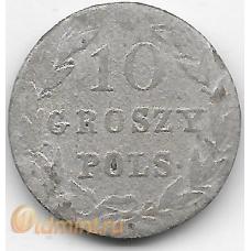 10 грошей. 1823(?) г. Русская Польша. Серебро. 9-3-344