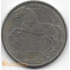 1 крона. 1970 г. Норвегия. Лошадь. 7-1-686