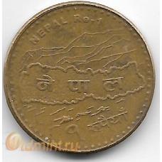 1 рупия. 2009 г. Непал. Карта, Эверест. 7-1-697