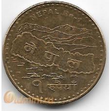 1 рупия. 2009 г. Непал. Карта, Эверест. 7-1-703