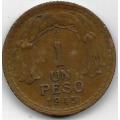 1 песо. 1945 г. Чили. Бернардо О'Хиггинс. 6-1-821