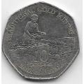 10 долларов. 1996 г. Гайана. Добыча золота. 14-3-486