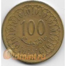 100 миллимов. 2011 г. Тунис. 14-3-493