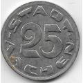 25 пфеннигов. 1920 г. Ахен, Германия. Волчица. 16-3-769