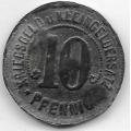 10 пфеннигов. 1918 г. Германия. Нотгельд. Надчеканка. 18-2-278