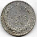 1 лат. 1924 г. Латвия. Серебро. 9-1-237