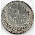 1 лат. 1924 г. Латвия. Серебро. 9-1-239