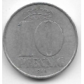 """10 пфеннигов. 1968 г. ГДР. """"А"""". 11-3-358"""