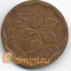 5 центов. 2011 г. Свазиленд. 4-2-693