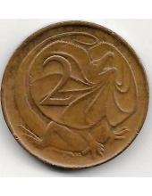 2 цента. 1966 г. Австралия. Плащеносная ящерица. 20-1-11